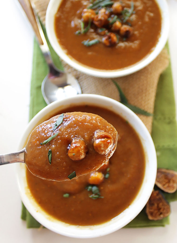 Roasted Sweet Potato Fig Soup with Crispy Chickpeas. Rich, luxurious, sweet, easy! #glutenfree #soup | robustrecipes.com