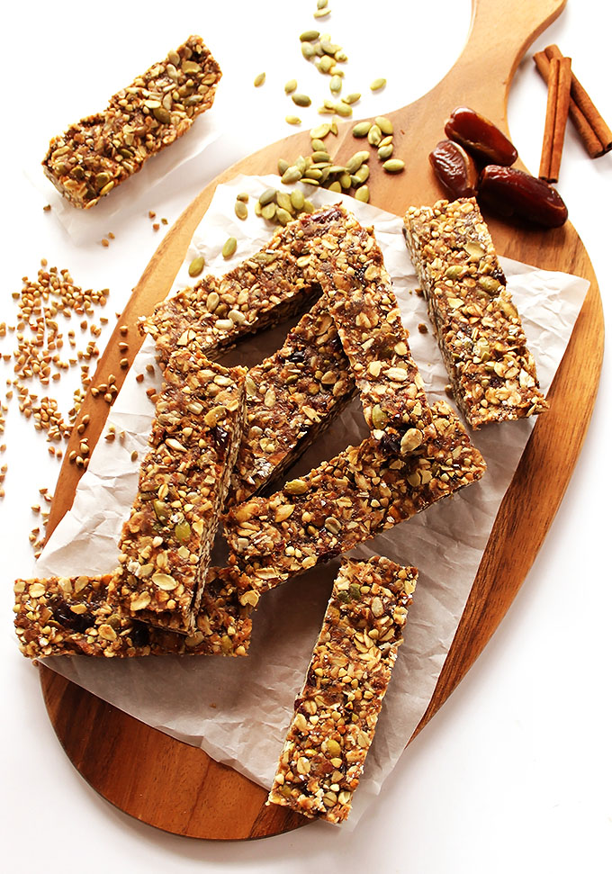 Seedy Buckwheat Granola Bars. Tasty, chewy, nutrition packed. Easy to make! #glutenfree