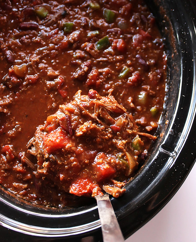 Slow Cooker Smoky Pork Chili. So Easy. So Delicious. Hearty, and filling! #soup #glutenfree