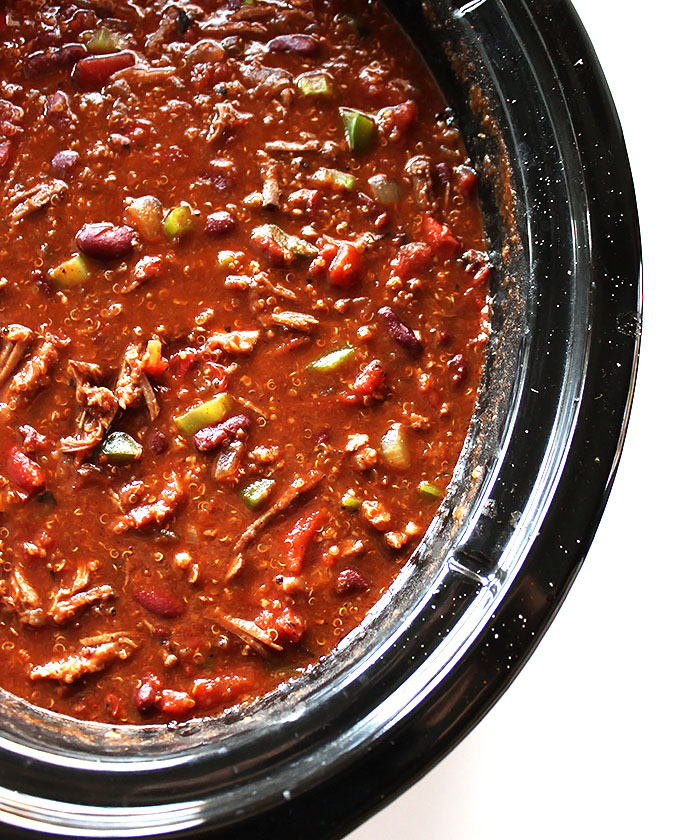 Slow Cooker Smoky Pork Chili. So easy to make. Dump in ingredients and turn on slow cooker! #soup