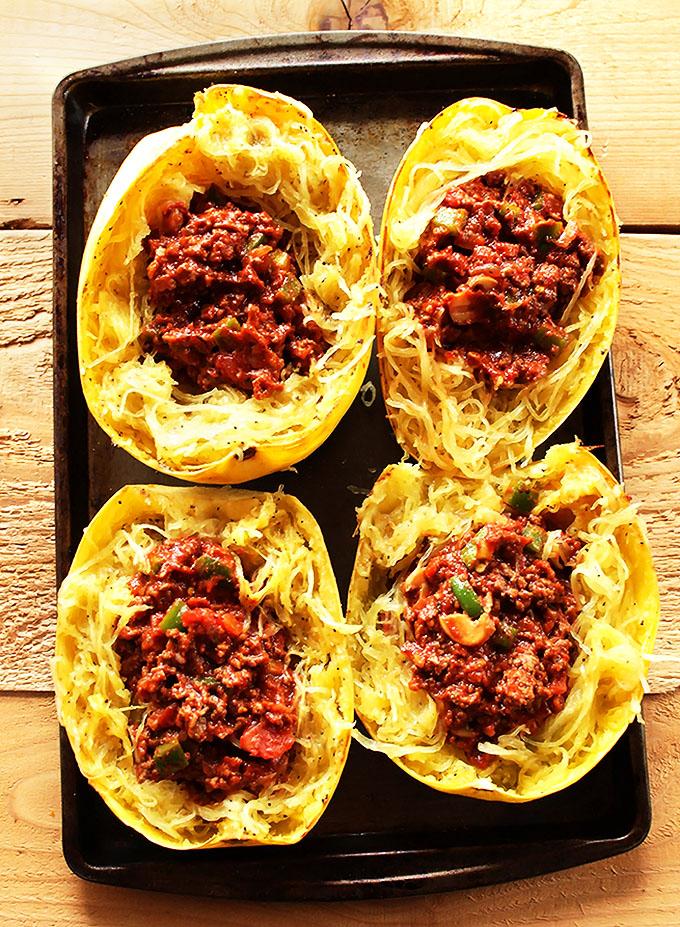 Spaghetti Squash with Meat Sauce. A delicious, low-carb option for pasta night! #glutenfree #lowcarb