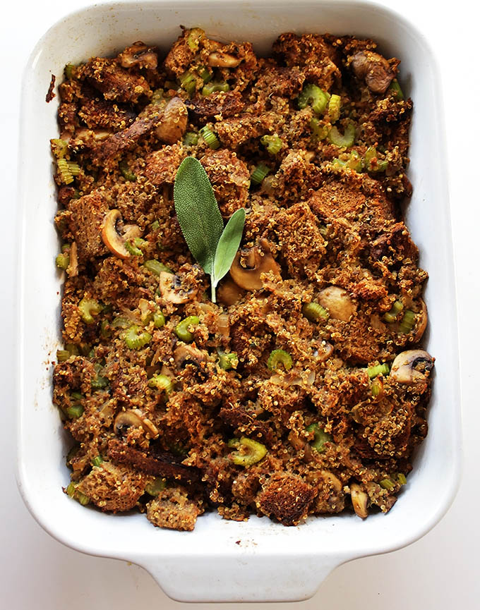 Healtheir Stuffing for Thanksgiving. Bursting with fiber, flavor, and texture!