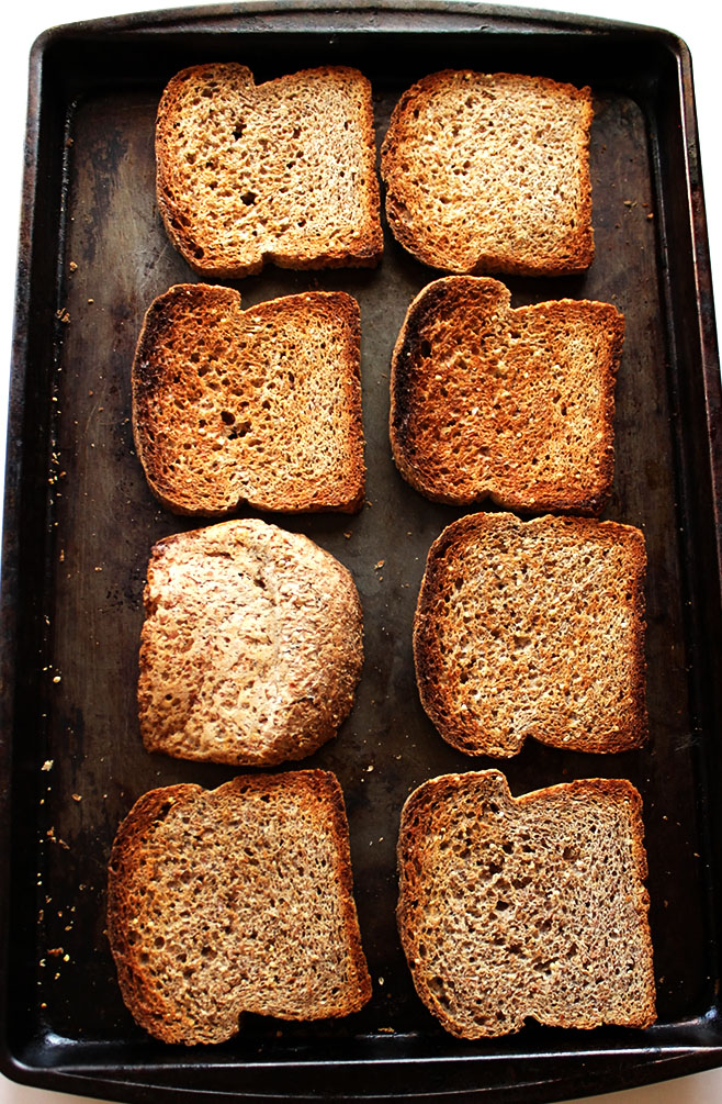 Toasting some Ezekiel bread for Healthier Stuffing!