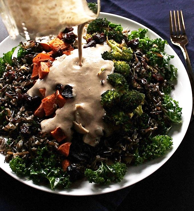 Roasted Garlic Tahini Dressing for Roasted Veggie and Wild Rice Power Salad!