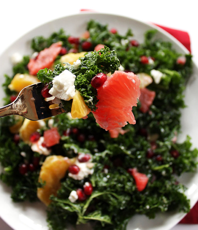 Winter Kale Salad. Citrus furits plus pomegrante! Simple. Healthy, and delicious!