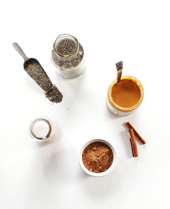 Chocolate Peanut Butter Chia Seed Pudding ingredients.