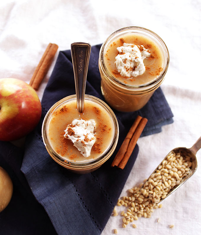 Apple Cinnamon and Barley Pudding - A traditional Irish dessert recipe, AKA flummery. Only requires 8 ingredients! EASY to make! Smooth and creamy! Vegan/Dairy Free! | Robustrecipes.com