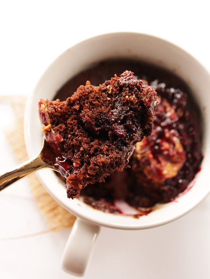 Peanut Butter and Jelly Chocolate Mug Cake - A single serving cake recipe that can be made in minutes! Rich, chocolate-y, moist cake with a peanut butter and jelly center! SO YUM! Gluten Free. | robustrecipes.com