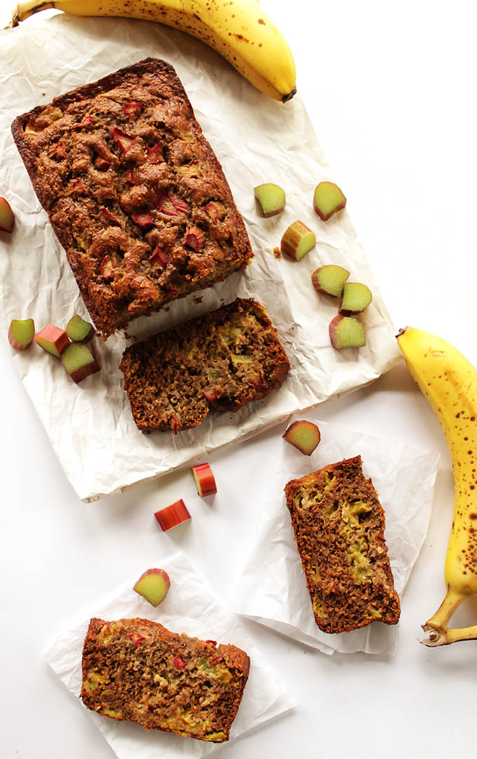 Banana Rhubarb Bread - Moist banana bread with rhubarb for a hint of tartness. A great recipe for spring time! Gluten Free!
