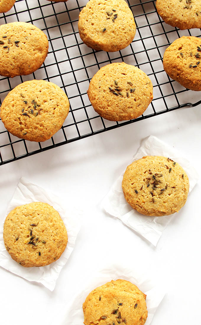 Lavender Lemon Cookies - EASY to make, all done in a food processor. Crunchy outside, fluffy inside with hints of lemon and lots of lavender. We love this recipe in the spring! Gluten Free/Egg Free! | robustrecipes.com