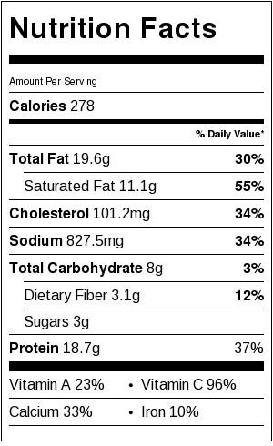 Nutrtion info for Green Chicken Enchilada Pizza