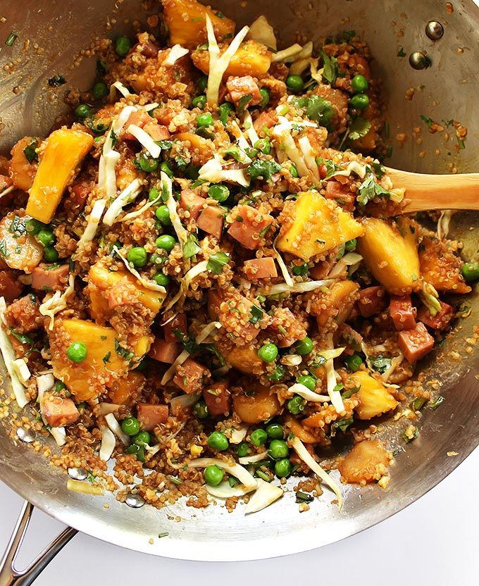 Pineapple and Ham Quinoa Stir Fry - Salty and sweet and packed with veggies and protein. Gluten Free.