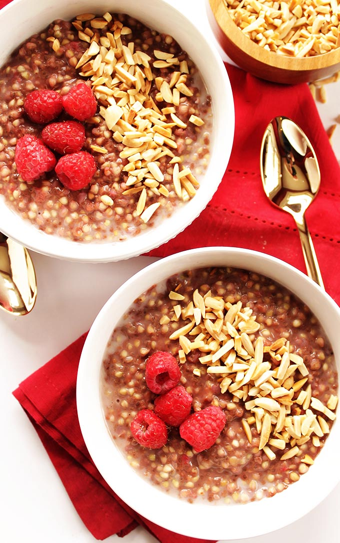 Raspberry Buckwheat Breakfast Porridge - EASY breakfast, comes together in 12 minutes. Creamy, satisfying real food recipe that's perfect for chilly mornings! Vegan/Gluten Free | robustrecipes.com