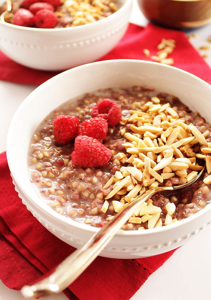 Raspberry Buckwheat Breakfast Porridge - Creamy, hearty breakfast that comes together in 12 minutes! Perfect for chilly mornings. Vegan/Gluten Free. | robustrecipes.com