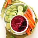 Beet Basil Hummus - Hummus with a twist, sweet beets and loads of fresh basil. This recipe is EASY to make, healthy, and perfect for summer! Vegetarian/Gluten Free.