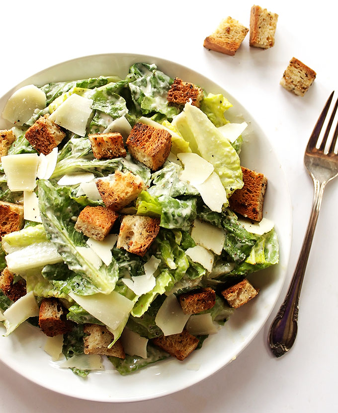 Easy Caesar Salad - Stove top gluten free croutons and a creamy dressing made without eggs. This recipe is classic, delicious, and refreshing! Gluten Free!