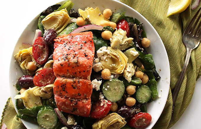 Easy Greek Salmon Salad