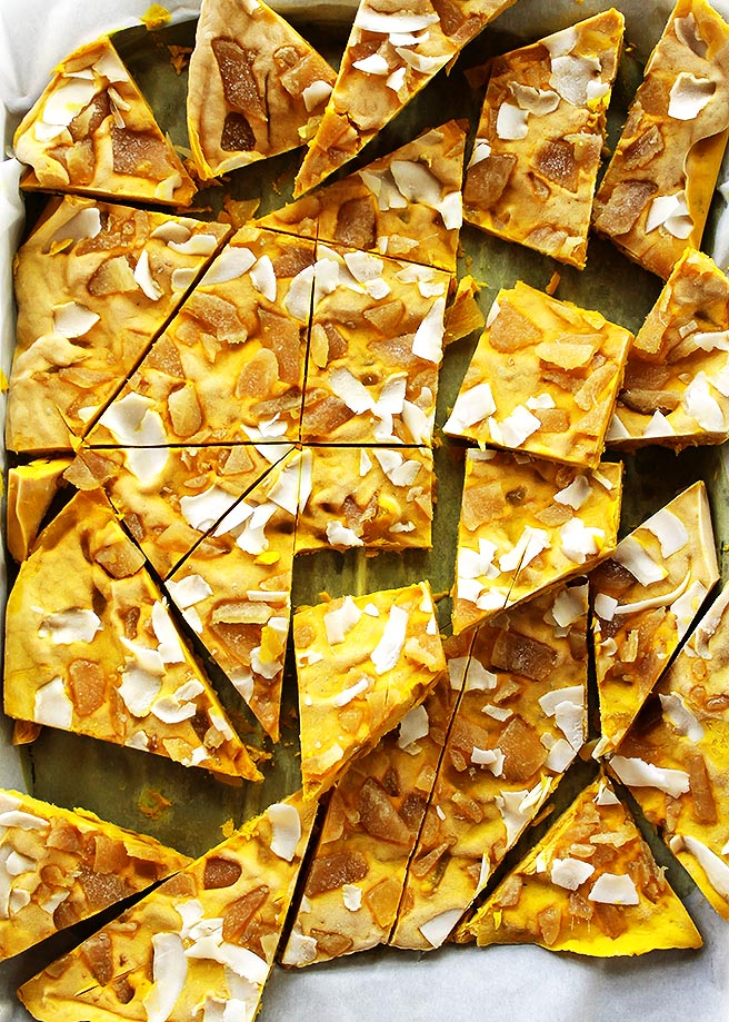 Golden Milk Frozen Yogurt Bark - inspired by golden milk this bark is infused with healthy turmeric! It's creamy, nutty, with crystallized ginger for a nice kick! This recipe is easy to make is is perfect for summer! Gluten Free.