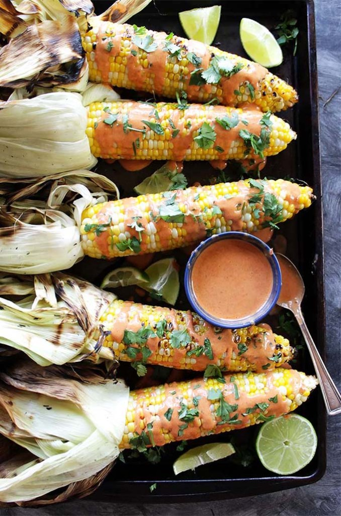 Grilled Corn with Spicy Chipotle Sauce