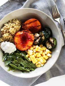 Grilled Peach and Zucchini Summer Bowls