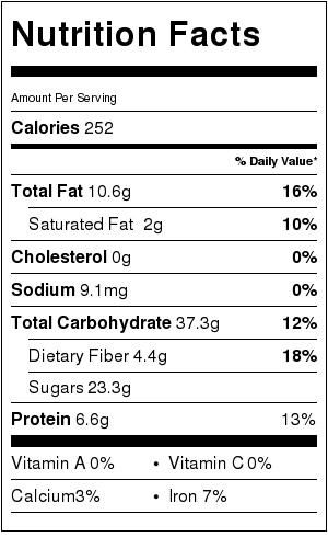 peanut butter apple granola bars - nutrition facts