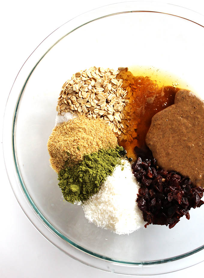 Ingredients for Matcha Cherry Energy Balls | robustrecipes.com