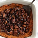 Sweet Potato Casserole with Spiced Pecans - A healthier twist on the traditional marshmallow version. This recipe is EASY to make. Perfect addition to your holiday menu. Vegan/gluten free/refined sugar free | robustrecipes.com