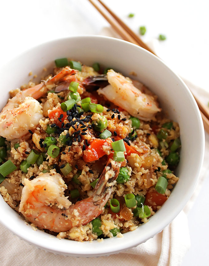 Cauliflower Fried Rice with Shrimp - This recipe only takes 30 minutes to make and one pan! A healthier version of traditional fried rice! Packed with tons of veggies. Perfect for a weeknight meal! Gluten free/dairy free | robustrecipes.com