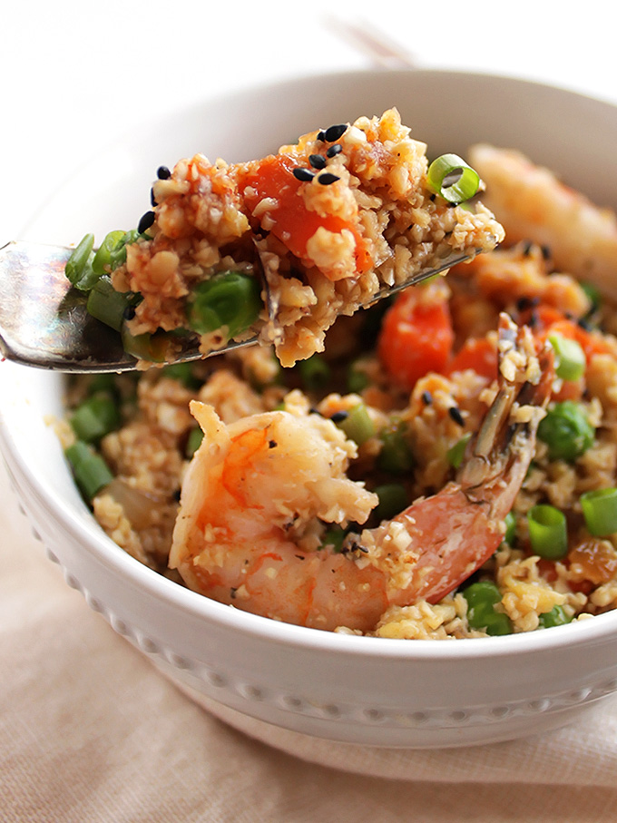 Cauliflower Fried Rice with Shrimp - A healthier take on traditional fried rice. Packed with veggies. This recipe is EASY to make and used one pan! Gluten free/Dairy Free | robustrecipes.com