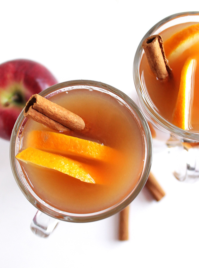 Slow Cooker Apple Cider + Boozy Bar - Delicious homemade cider made easy in the slow cooker! Best Cider EVER! Plus a boozy bar! Perfect for Halloween, Christmas, and New Year's Eve Parties. Set out assorted liquors, juices, caramel sauce, cinnamon sticks etc for your guests to customize their own hot cider! So much fun! Vegan/Gluten Free | robustecipes.com
