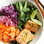 Asian Citrus Salad with Marinated Salmon - Colorful veggie packed salad that's topped with a creamy citrus dressing and citrus marinated salmon! We love this recipe during the winter! Gluten Free/Dairy Free/Soy Free   robustrecipes.com