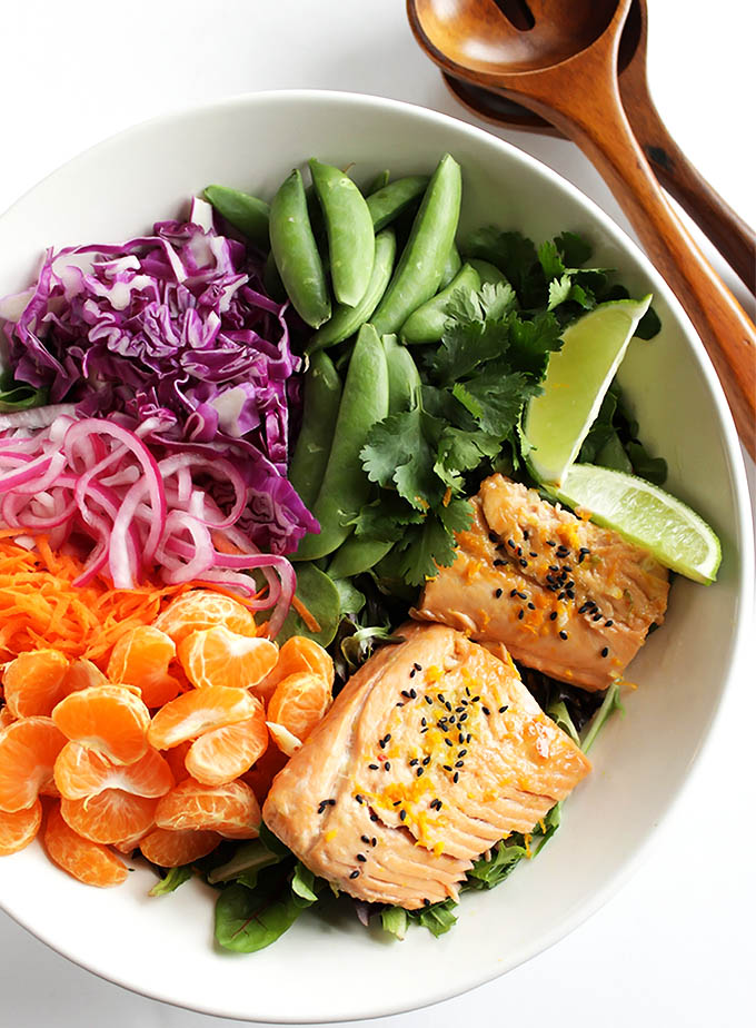 Asian Citrus Salad with Marinated Salmon - Colorful veggie packed salad that's topped with a creamy citrus dressing and citrus marinated salmon! We love this recipe during the winter! Gluten Free/Dairy Free/Soy Free | robustrecipes.com