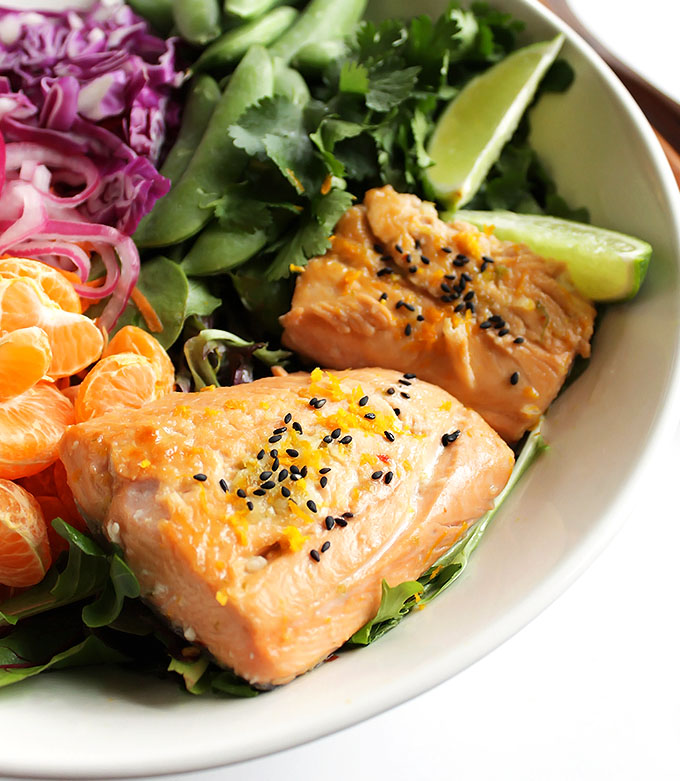 Asian Citrus Salad with Marinated Salmon -This rainbow salad is packed with veggies and mandarin oranges. It is topped with a creamy citrus dressing and citrus marinated salmon. This recipe is one of my favorites to make during the winter! So YUM! Gluten Free/Dairy Free/Soy Free | robustrecipes.com