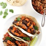 Lentil Mushroom Tacos with Creamy Chipotle Sauce - Seriously satisfying vegan tacos! 10 grams of protein and 6 grams of fiber. This recipe only takes 40 minutes to make! So YUM! Vegan/Gluten Free/Dairy Free | robustrecipes.com