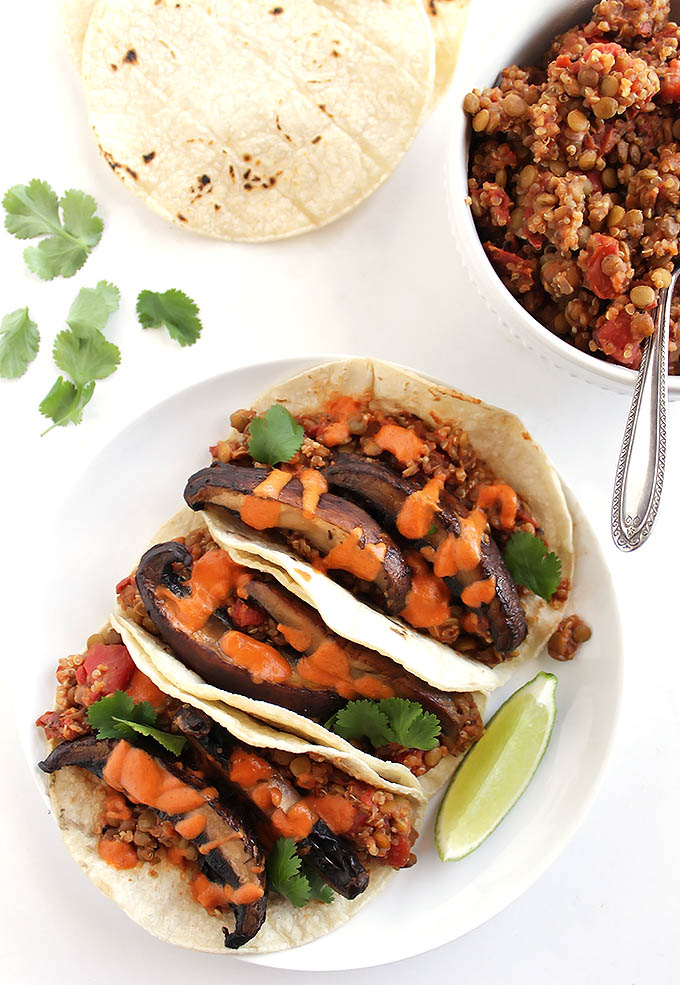Lentil Mushroom Tacos with Creamy Chipotle Sauce - Seriously satisfying vegan tacos! 10 grams of protein and 6 grams of fiber. This recipe only takes 40 minutes to make! So YUM! Vegan/Gluten Free/Dairy Free   robustrecipes.com