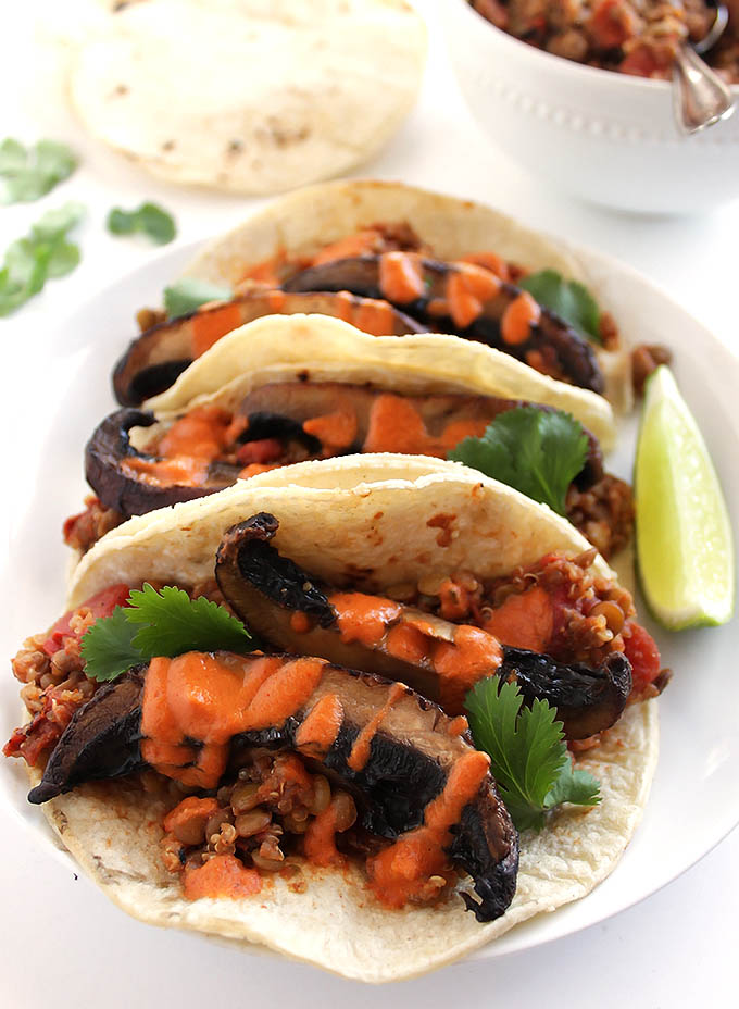 Lentil Mushroom Tacos with Creamy Chipotle Sauce - Filling and satisfying vegan tacos! Packed with 10 grams of protein and 6 grams of fiber! This recipe only takes 40 minutes to make! Gluten Free/Vegan/Dairy Free   robustrecipes.com