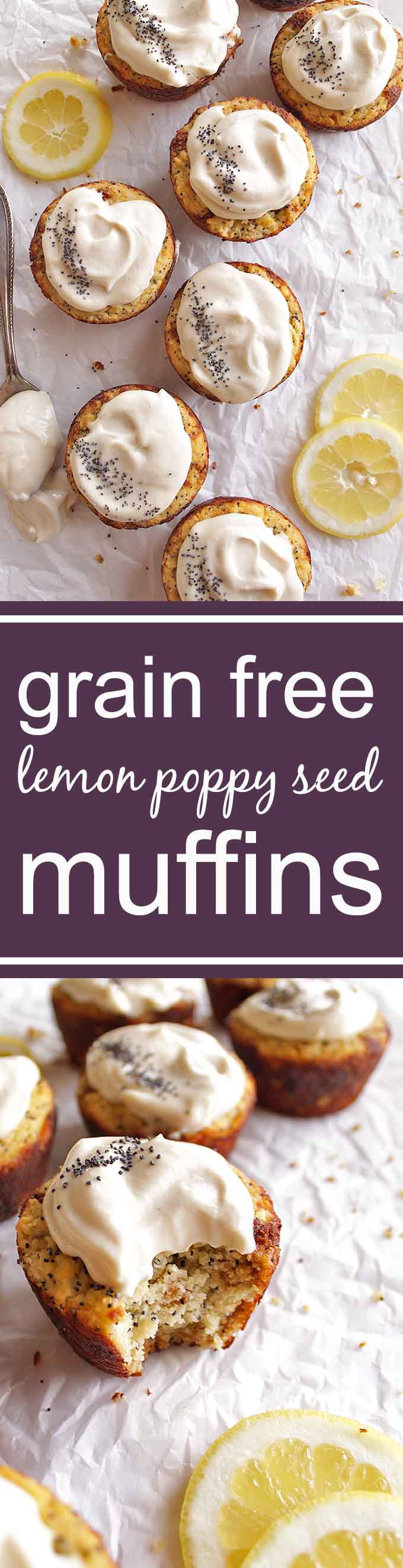 Grain Free Lemon Poppy Seed Muffins - Fluffy, lemon-y muffins topped with a tangy cashew glaze. This recipe is perfect for parties, brunch, or breakfast. These are some of our fave muffins! Gluten Free/Dairy Free/ Grain Free/ Refined Sugar Free | robustrecipes.com