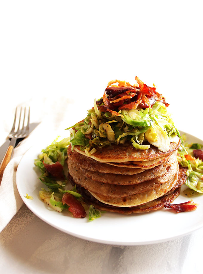 Irish Boxty Potato Pancakes with Brussels Sprouts and Bacon - Tender, fluffy pancakes with shaved Brussels sprouts and crispy bacon, plus drizzled with a honey mustard sauce! Based off of a traditional Irish recipe. Perfect for breakfast, brunch parties, or St. Patrick's Day! Gluten Free | robustrecipes.com