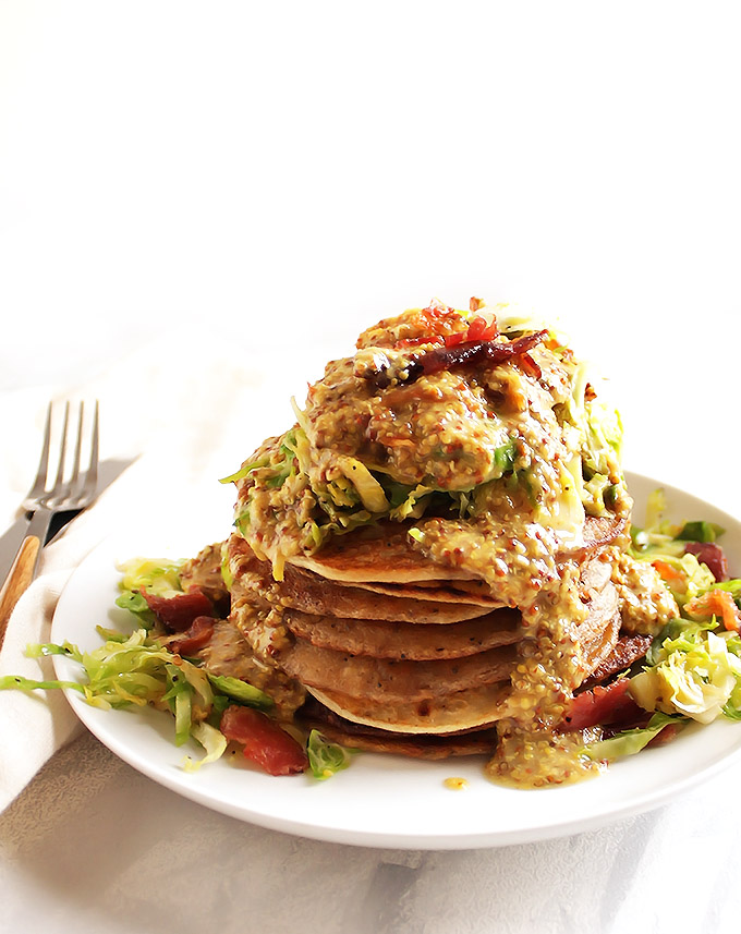 Irish Boxty Potato Pancakes with Brussels Sprouts and Bacon - Fluffy, soft pancakes topped with warm shaved Brussels sprouts, crispy bacon, and a honey mustard sauce. Based on a traditional Irish recipe. Perfect for St. Patrick's day or brunch! Gluten Free | robustrecipes.com