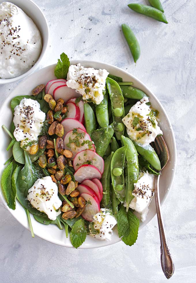 Simple Spring Salad with Sugar Snap Peas and Burrata