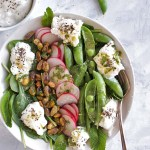 Simple Spring Salad with Sugar Snap Peas and Burrata - Comes together in only 10 minutes. Loaded with veggies and perfect as a side salad or appetizer. Gluten free/vegetarian! | robustrecipes.com