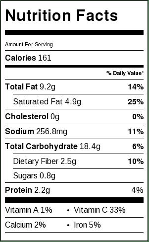 25 Minute Crispy Breakfast Potatoes - Nutrition Facts