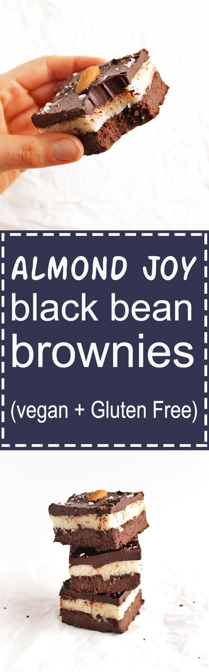 Almond Joy Black Bean Brownies - A fudge-y brownie layer topped with a sticky coconut layer, topped with a ganache layer and almonds. This recipe is amazingly delicious! It's rich, satisfying, and surprisingly healthy - healthy fats and fiber! Gluten Free/Vegan/Refined Sugar Free | robustrecipes.com