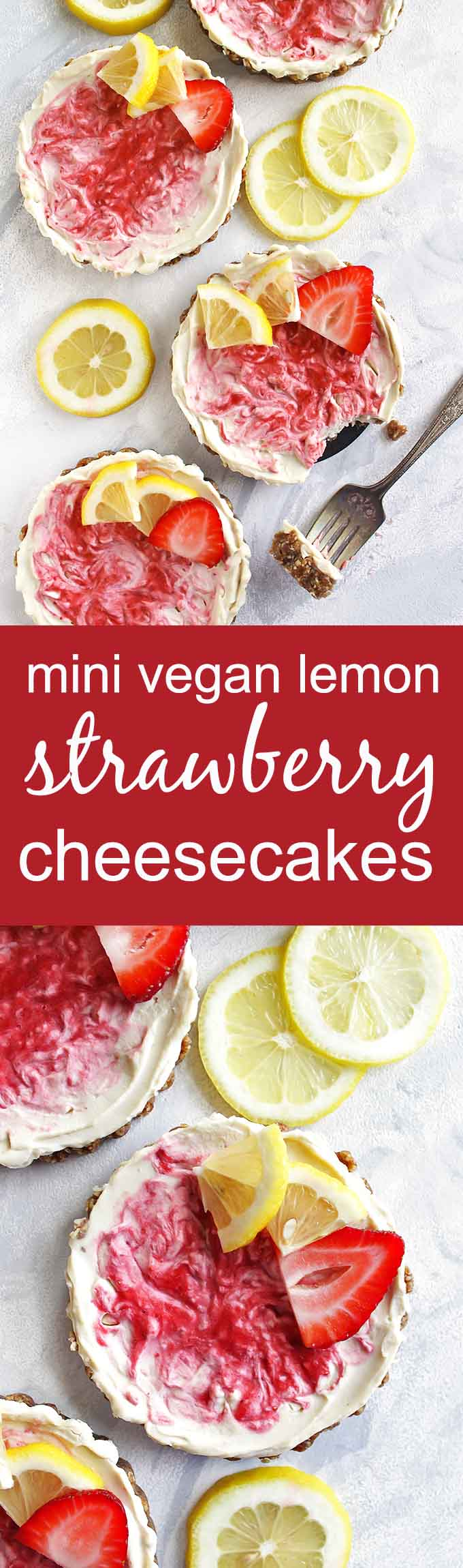 Mini Vegan Lemon Strawberry Cheesecakes - These mini cheesecakes are perfect for parties or celebrations. Or keep them on hand, in the freezer for any time you have a craving. This is a no bake recipe. The crust is a date/pecan crust and the filling is lemon-y with a strawberry swirl. Gluten Free/ Vegan/ Refined Sugar Free/ Dairy Free | robustrecipes.com