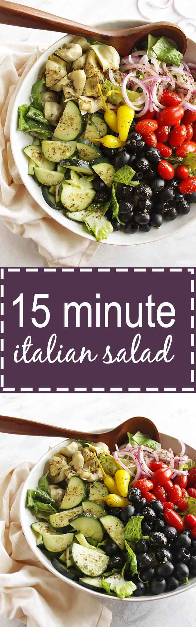 15 Minute Italian Salad - This recipe makes a great side salad to any meal. It's packed with all the Italian favorites and a tasty Italian Vinaigrette. This salad is quick and easy to make. Gluten free/vegetarian | robustrecipes.com