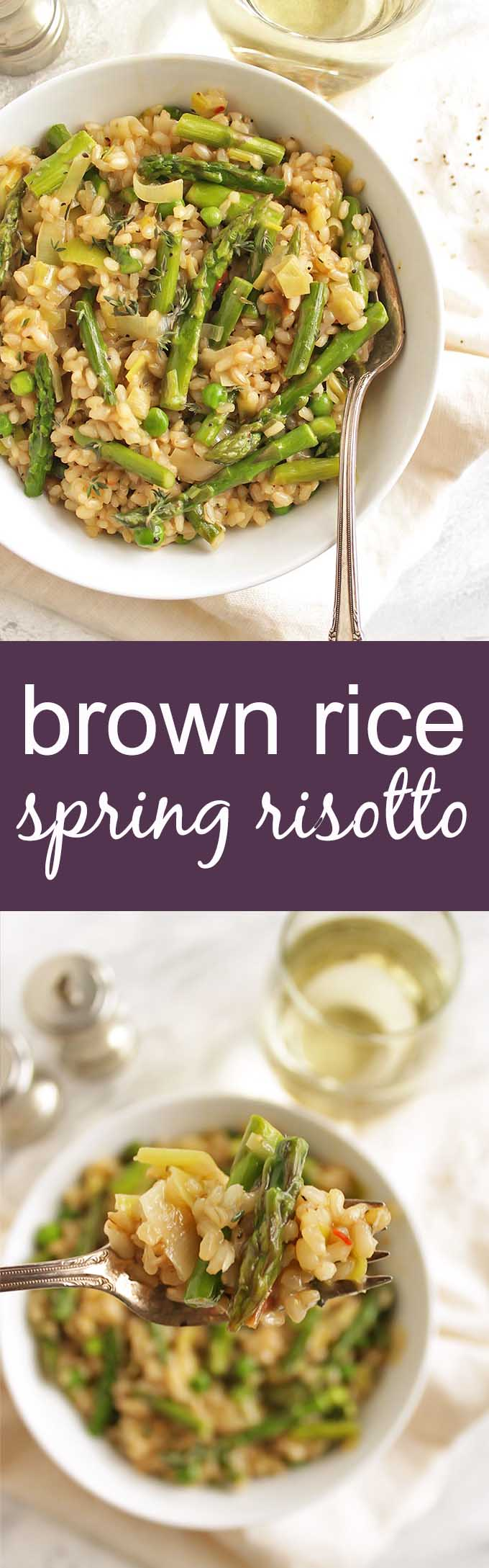 Brown Rice Spring Risotto - Risotto made with brown rice for added health benefits and more texture. This risotto is packed with spring veggies like leeks, asparagus, and peas! This recipe makes a great side dish or add shrimp for a complete meal! Vegetarian/Gluten Free | robustrecipes.com