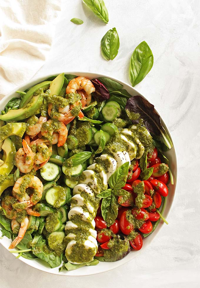 Loaded Caprese Salad with Shrimp