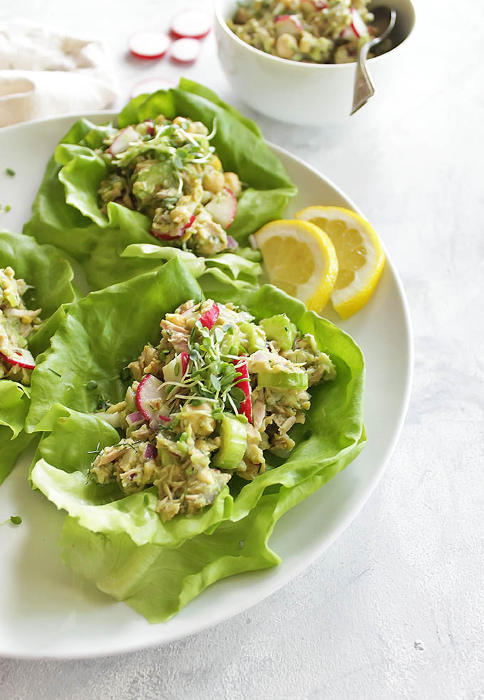 Avocado Tuna Salad Lettuce Wraps - Tuna salad made with mashed avocado instead of mayo. It's also packed with mashed chickpeas for extra texture, crunchy celery, peppery radishes, and dill. I love to serve this tuna salad wrapped in butter lettuce for a lighter option, but it also makes a delicious sandwich or eaten plane with a fork. Makes for a great packed lunch! Gluten Free/Dairy Free | robustrecipes.com