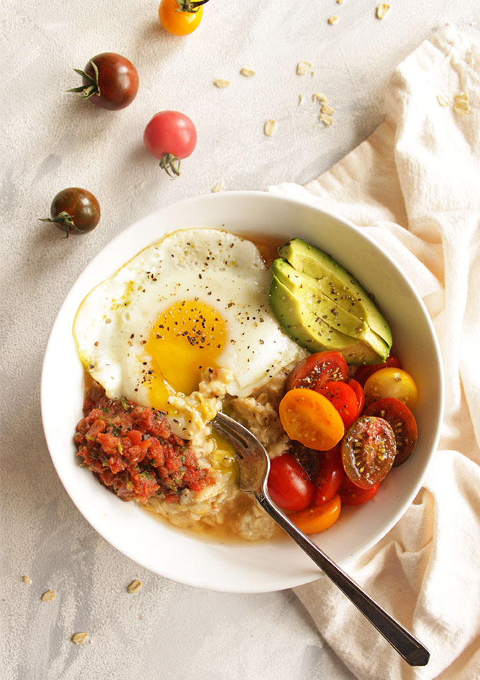 12 Minute Savory Oatmeal with Fried Eggs