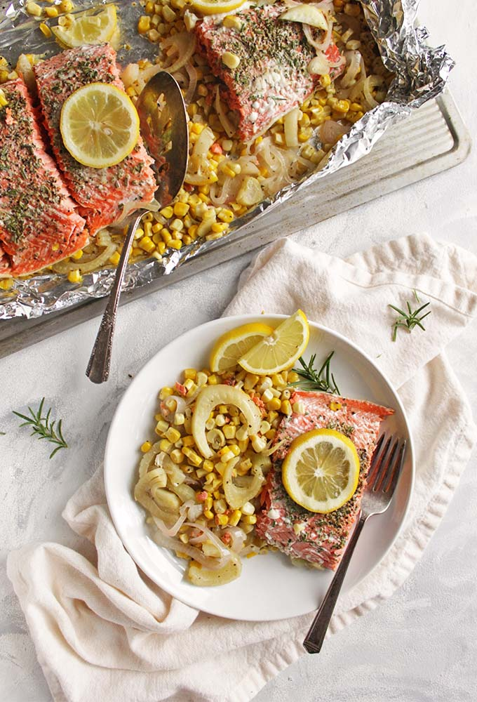 Rosemary Foil Salmon with Corn and Fennel